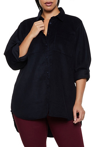 Plus Size Button Front Corduroy Shirt,BLACK,large