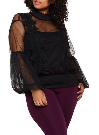 Plus Size Bubble Sleeve Mesh Top,BLACK,large