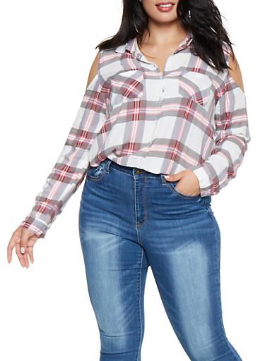 Plus Size Plaid Cold Shoulder Shirt,WHITE,large