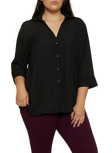 Plus Size Crepe Knit Button Front Shirt,BLACK,large