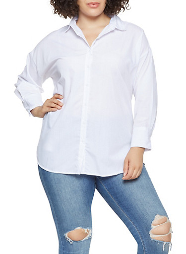 Plus Size Button Front Tunic Top,WHITE,large