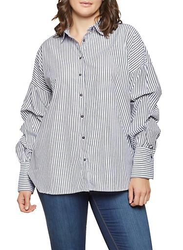 Plus Size Bubble Sleeve Striped Shirt,BLACK,large