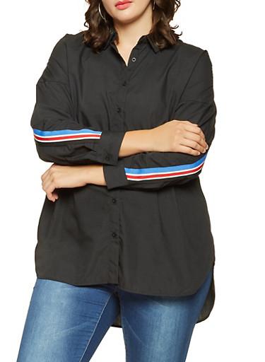 Plus Size Striped Tape Trim Shirt,BLACK,large