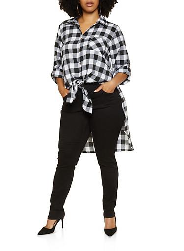 Plus Size Plaid High Low Flannel Shirt,BLACK/WHITE,large