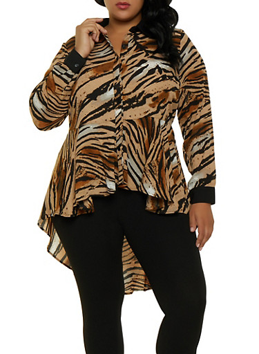Plus Size Printed High Low Shirt,CHARCOAL,large