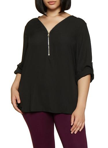 Plus Size Half Zip Blouse,BLACK,large