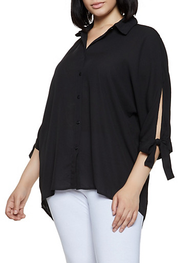 Plus Size Tie Sleeve High Low Shirt,BLACK,large