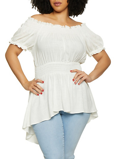 Plus Size Smocked Off the Shoulder High Low Top,WHITE,large