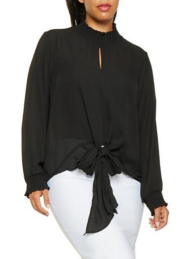 Plus Size Tie Front Blouse,BLACK,large