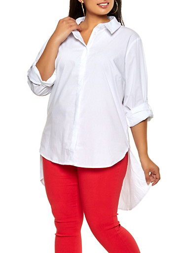 Plus Size Button Front High Low Shirt,WHITE,large