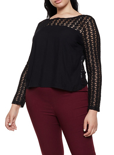 Plus Size Embroidered Lace Button Back Top,BLACK,large