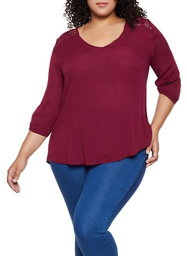 Plus Size Lace Yoke Top | 3803054268173,WINE,large