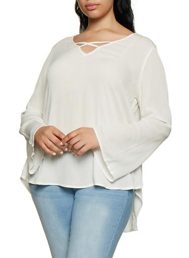 Plus Size Gauze Knit Lace Detail Top,IVORY,large