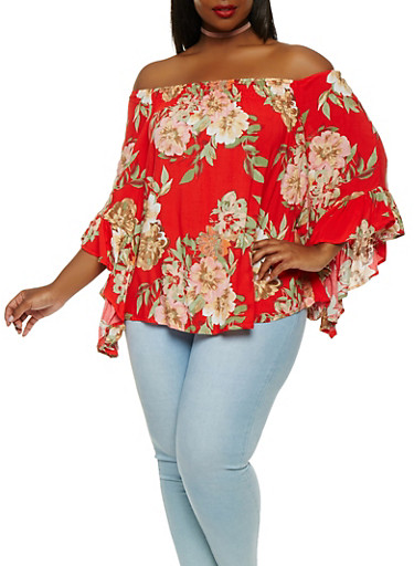 Plus Size Floral Off the Shoulder Top,RED,large