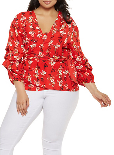 Plus Size Floral Bubble Sleeve Wrap Top,RED,large