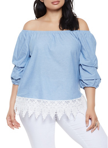 Plus Size Chambray Off the Shoulder Top,BLUE,large