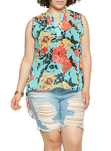Plus Size Sheer Floral High Low Top,JADE,large