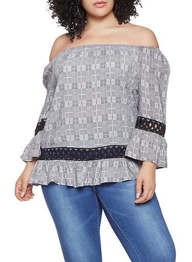 Plus Size Off the Shoulder Plaid Top,BLACK,large