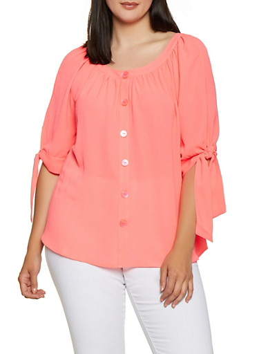 Plus Size Tie Sleeve Button Blouse,PINK,large