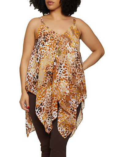 Plus Size Leopard Asymmetrical Top with Necklace,BROWN,large