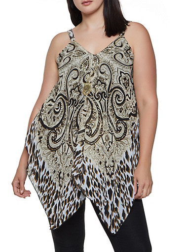 Plus Size Mixed Print Sleeveless Top with Necklace,KHAKI,large