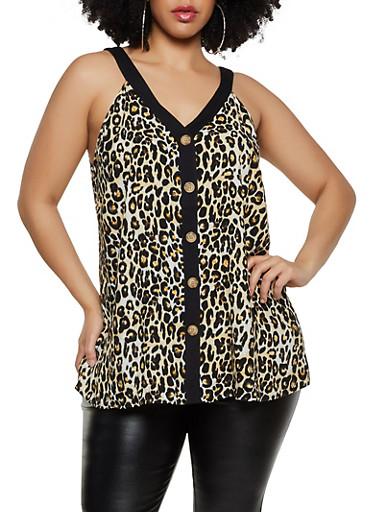 Plus Size Leopard Button Front Shirt,MULTI COLOR,large