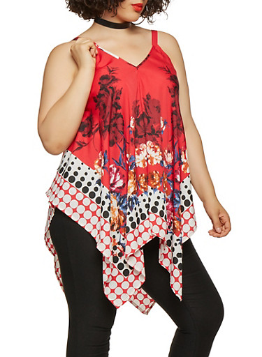 Plus Size Printed Sharkbite Hem Top,RED,large