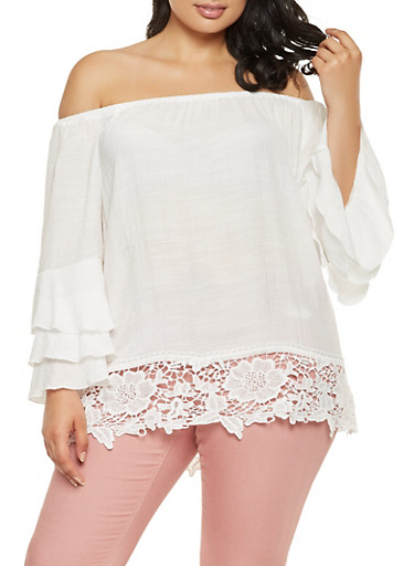 Plus Size Off the Shoulder Tiered Sleeve Top,IVORY,large