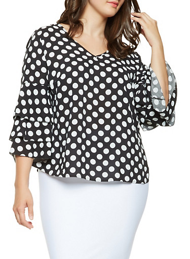 Plus Size Polka Dot Tiered Sleeve Top,BLACK,large