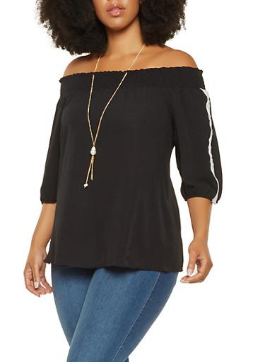 Plus Size Crochet Detail Off the Shoulder Top,BLACK,large
