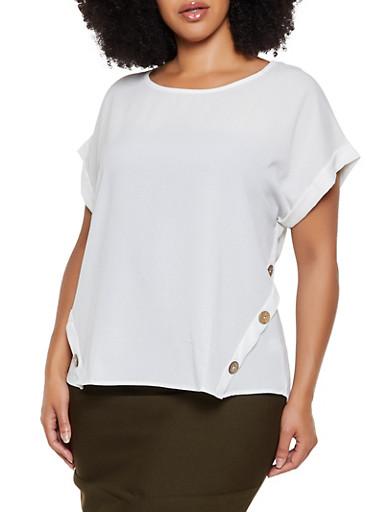 Plus Size Button Detail Crepe Knit Blouse,IVORY,large