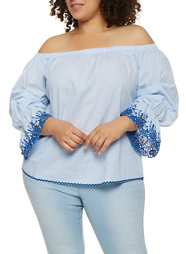 Plus Size Embroidered Bell Sleeve Off the Shoulder Top,BLUE,large