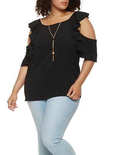 Plus Size Crepe Knit Ruffle Cold Shoulder Top,BLACK,large
