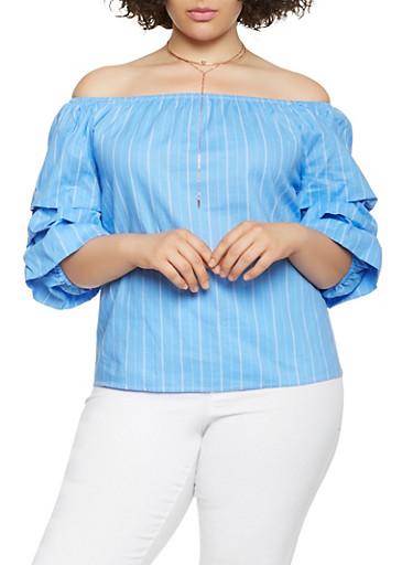 Plus Size Striped Off the Shoulder Top,BLUE,large