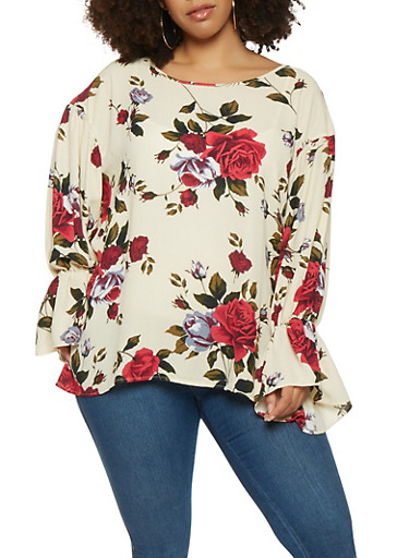 Plus Size Floral Bell Sleeve Top,IVORY,large
