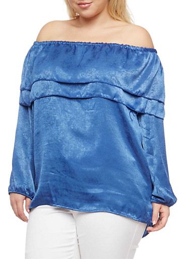 Plus Size Tiered Off the Shoulder Top,CHAMBRAY,large