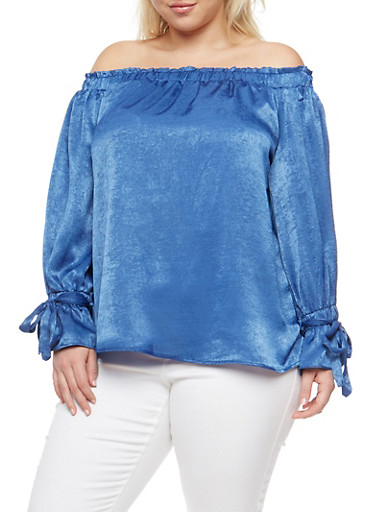 Plus Size Smocked Off the Shoulder Top,CHAMBRAY,large