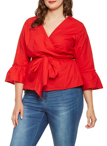 Plus Size Bell Sleeve Wrap Top,RED,large