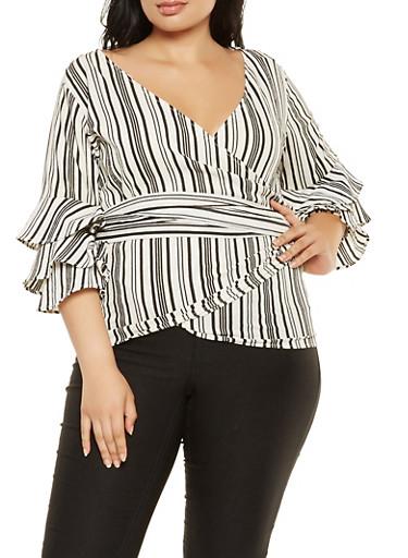 Plus Size Striped Crepe Knit Wrap Top,BLACK/WHITE,large