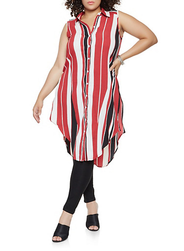 Plus Size Striped Button Front Tunic Top,WINE,large