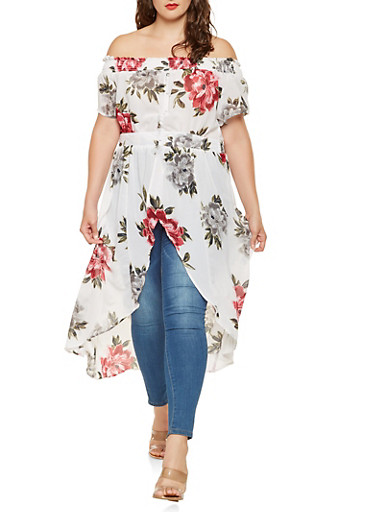 Plus Size Floral Off the Shoulder High Low Top,WHITE,large