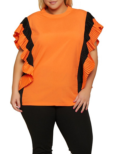 Plus Size Pleated Two Tone Top,ORANGE,large