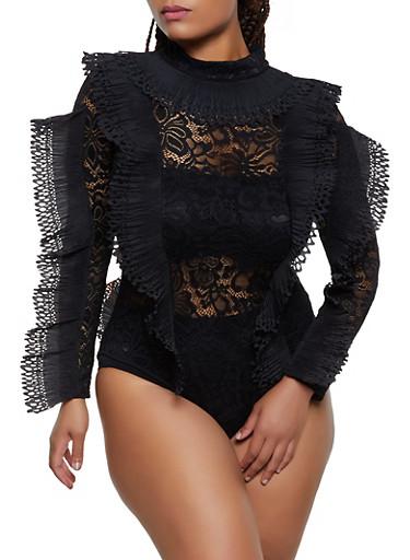 Plus Size Pleated Trim Lace Bodysuit,BLACK,large