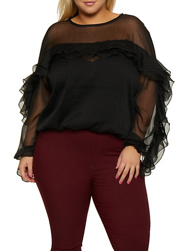 Plus Size Ruffle Detail Top,BLACK,large