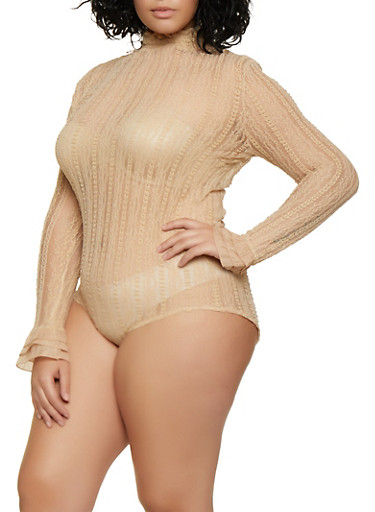 Plus Size Smocked Lace Bodysuit,NUDE,large