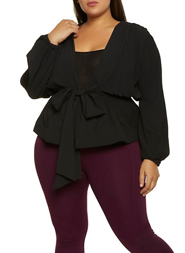 Plus Size Pleated Tie Front Top,BLACK,large