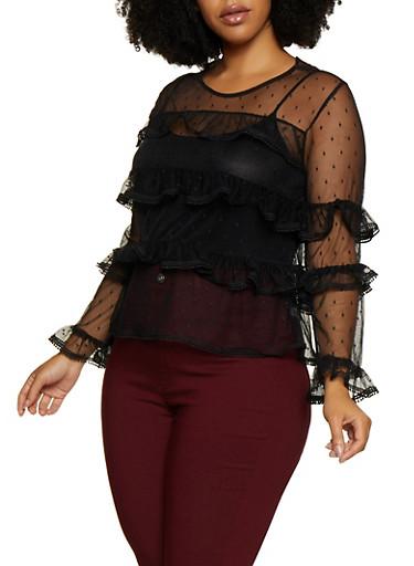 Plus Size Ruffled Mesh Top,BLACK,large