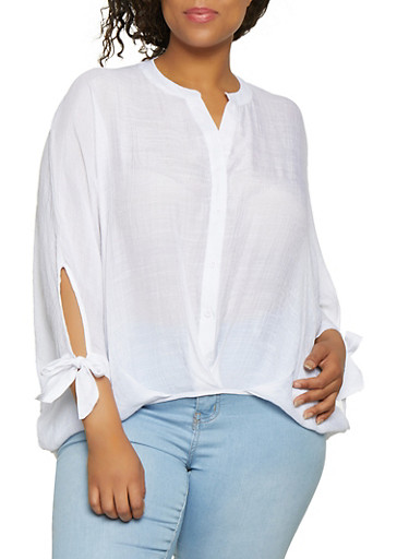 Plus Size Button Front High Low Top,WHITE,large