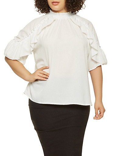 Plus Size Ruffle Trim Top,WHITE,large