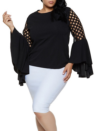 Plus Size Perforated Bell Sleeve Top,BLACK,large